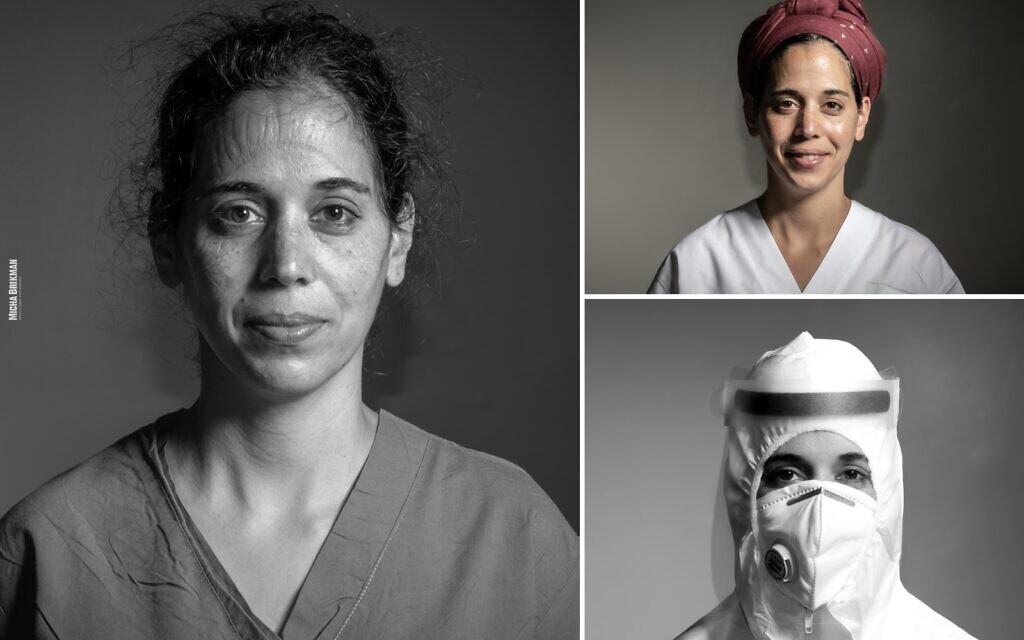 A nurse in Haifa's Bnai Zion Medical Center's coronavirus ward (Courtesy Micha Brikman)