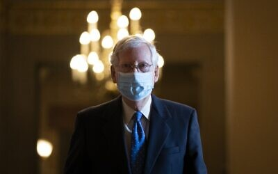 Senate Majority Leader Mitch McConnell leaves his office and walks to the Senate floor at the US Capitol on September 23, 2020, in Washington. (Drew Angerer/Getty Images/AFP)