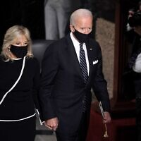 Democratic presidential candidate Joe Biden and Dr. Jill Biden leave a ceremony to honor the late Justice Ruth Bader Ginsburg as she lies in state at National Statuary Hall in the U.S. Capitol on September 25, 2020 in Washington, DC. (Greg Nash - Pool/Getty Images/AFP)