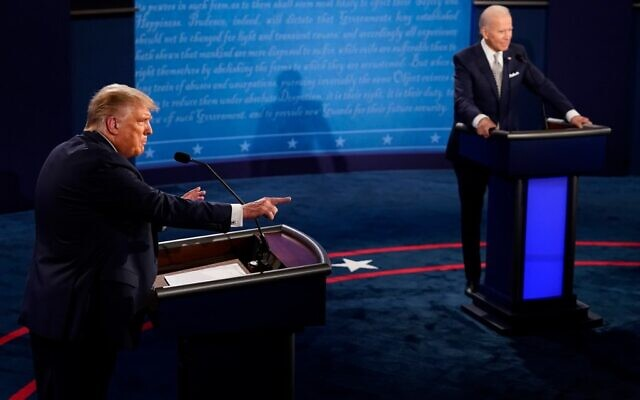 US President Donald Trump speaks during the first presidential debate against former Vice President and Democratic presidential nominee Joe Biden, on September 29, 2020 in Cleveland, Ohio. (Morry Gash-Pool/Getty Images/AFP)