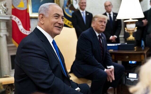US President Donald Trump and Prime Minister of Israel Benjamin Netanyahu participate in a meeting in the Oval Office of the White House on September 15, 2020 in Washington, DC. Netanyahu is in Washington to participate in the signing ceremony of the Abraham Accords.(Doug Mills/Pool/Getty Images/AFP)
