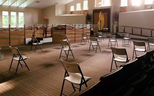 Illustrative: Chairs are set up for a socially distanced service at Congregation Ohr Hatorah in Atlanta. (Courtesy of Rabbi Adam Starr via JTA)