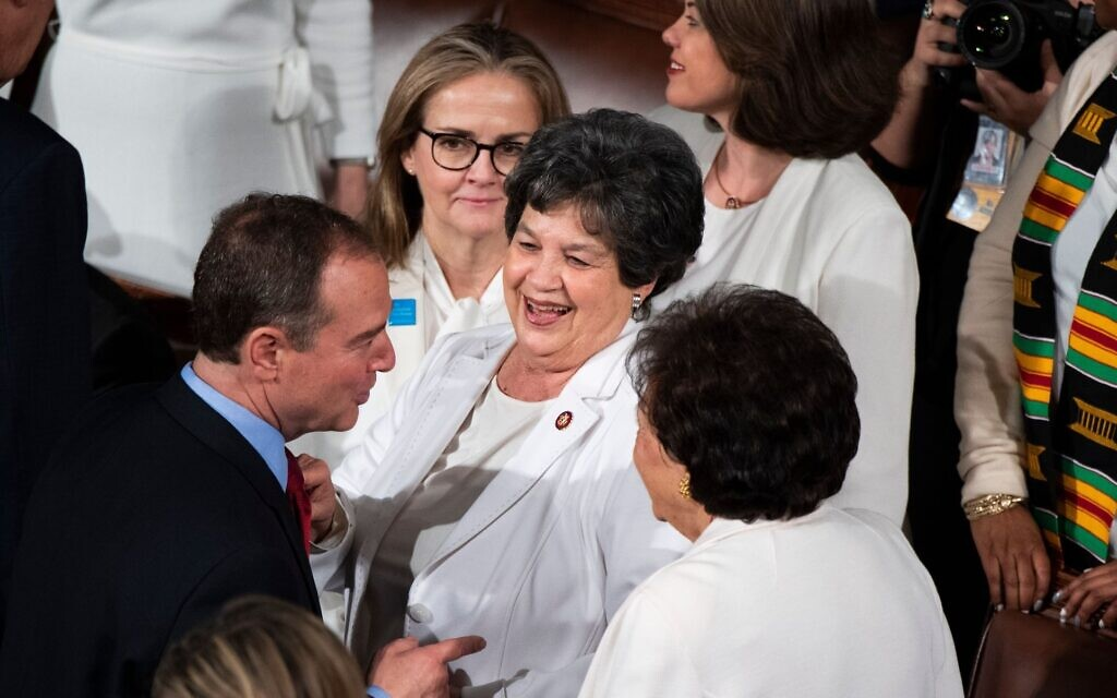 From left, Reps. Adam Schiff, D-Calif., Madeleine Dean, D-Pa., Lois Frankel, D-Fla., and Nita Lowey, D-NY, are seen before President Donald Trump's State of the Union address, February 4, 2020. (Tom Williams/CQ-Roll Call, Inc via Getty Images/ via JTA)