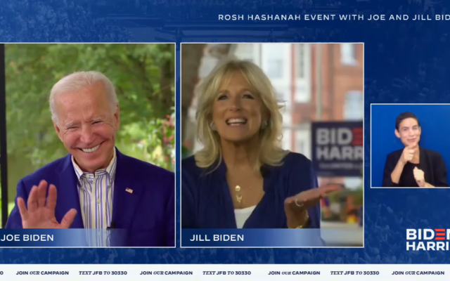 Democratic presidential candidate Joe Biden and his wife Jill speak to Jewish supporters in a Rosh Hashanah video conference call on September 17, 2020. (Screen capture/Biden-Harris campaign via JTA)