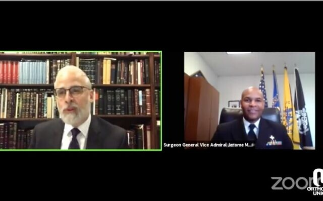 Surgeon General Dr. Jerome Adams (R) advises rabbis on how to prepare for the High Holidays in a call with the Orthodox Union, Sept. 1, 2020. (Screenshot from Zoom via JTA)
