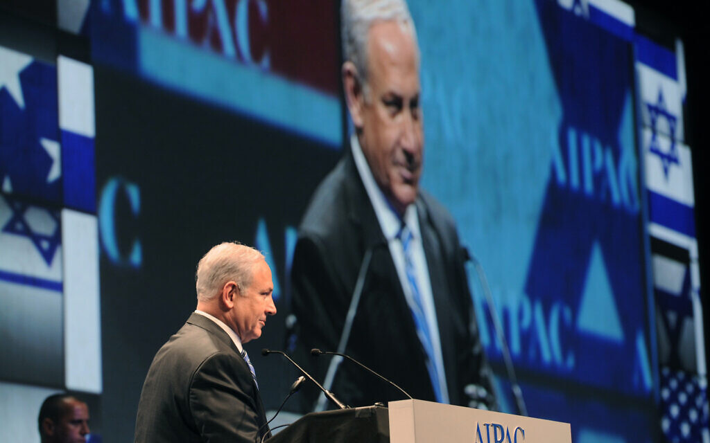 Prime Minister Benjamin Netanyahu delivers a speech at an AIPAC conference in Washington, DC. (Courtesy GPO/Amos Ben Gershom)
