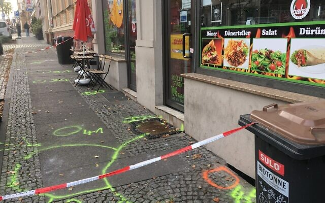 The cordoned-off scene outside the kebab shop in Halle where a shooter killed one of his two victims. (Rebecca Spiess via JTA)