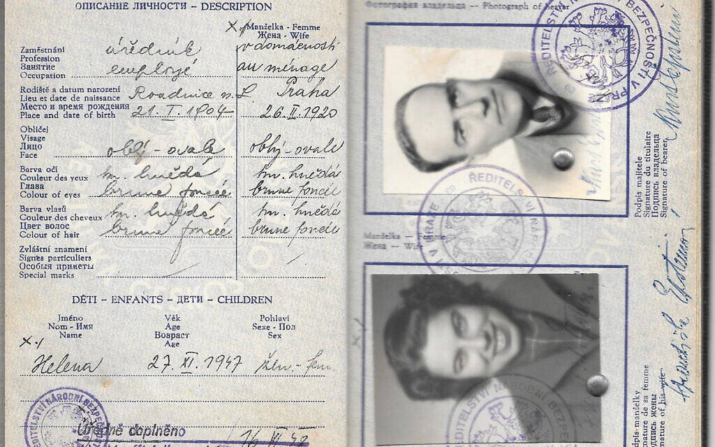Franci Rabinek Epstein and Kurt Epstein's exit document from Czechoslovakia, 1948. (Courtesy of Helen Epstein)