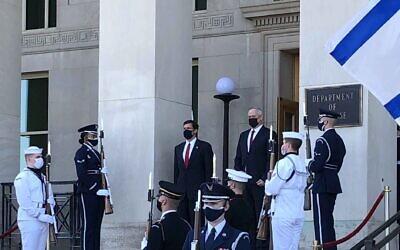 US Defense Chief Mark Esper, left, and Defense Minister Benny Gantz, meeting at the Pentagon in Arlington, Virginia, on September 22, 2020. (Jim Garamone/ Department of Defense)