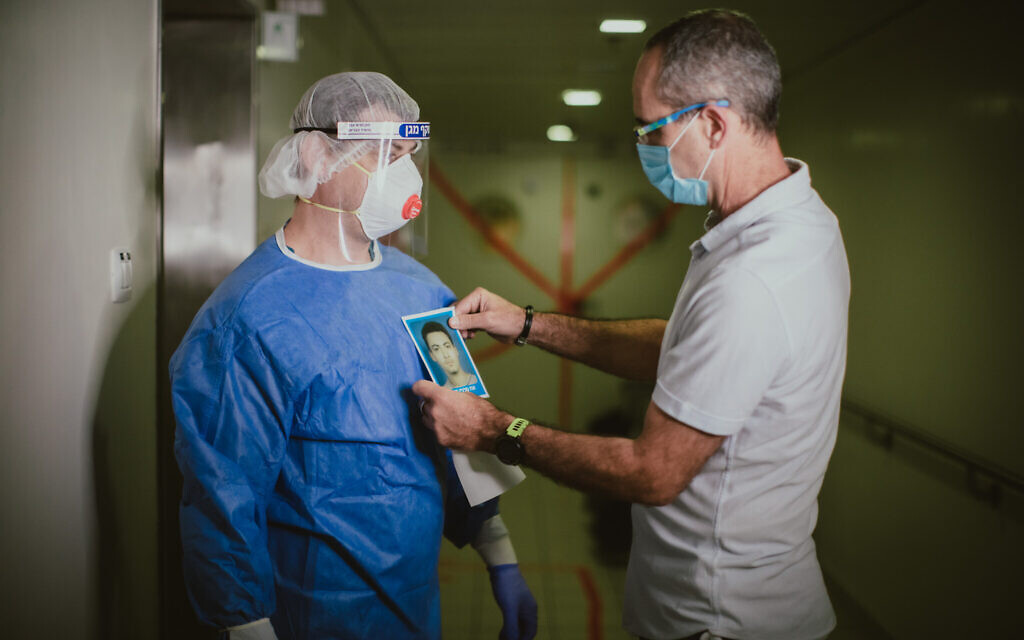 Staff members at Haifa's Bnai Zion Medical Center during the 2020 coronavirus (Courtesy Micha Brikman)