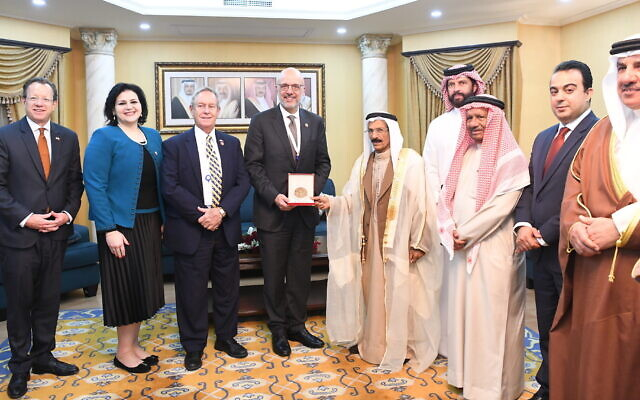 Jewish representative Nancy Khedouri, second from left, and other Bahraini officials meet with foreign representatives, including US Ambassador Justin Siberell, far left. (Courtesy of Khedouri via JTA)