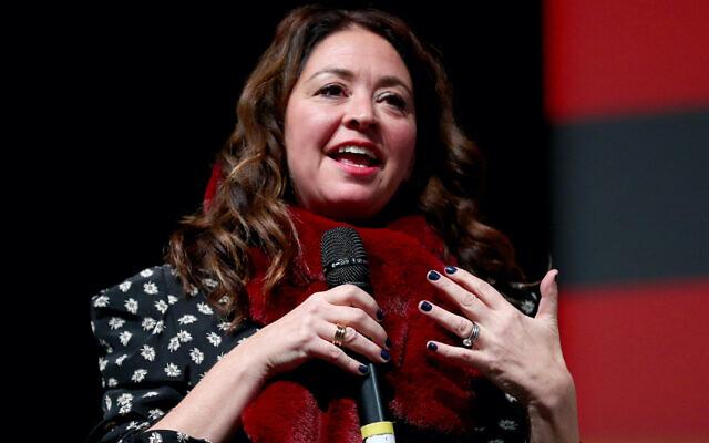 "Liz Garbus speaks at the premiere of the Netflix film ""Lost Girls"" in Park City, Utah, Jan. 28, 2020 (Joe Scarnici/Getty Images for Netflix via JTA)"