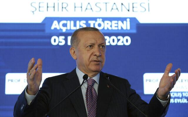 Turkey's President Recep Tayyip Erdogan speaks at a hospital's opening ceremony, in Istanbul, September 5, 2020. (Turkish Presidency via AP, Pool)