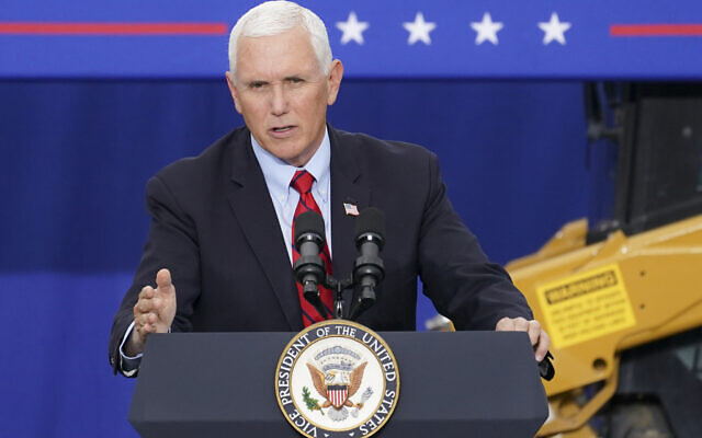US Vice President Mike Pence speaks at a campaign event on the grounds of Kuharchik Construction, Inc., in Exeter, PA, September 1, 2020. (AP/John Minchillo, File)
