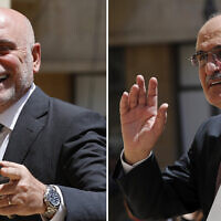 A composite picture shows Lebanese Public Works and Transportation Minister Youssef Fenianos entering parliament in Beirut, Lebanon, May 23, 2018, left, and Lebanese former Finance Minister Ali Hassan Khalil arriving at the parliament, in Beirut, Lebanon, July 16, 2019.(AP Photo/Hussein Malla)
