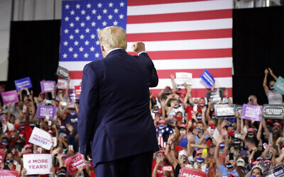 US President Donald Trump arrives to speak at a rally at Xtreme Manufacturing, September 13, 2020, in Henderson, Nevada (AP Photo/Andrew Harnik)