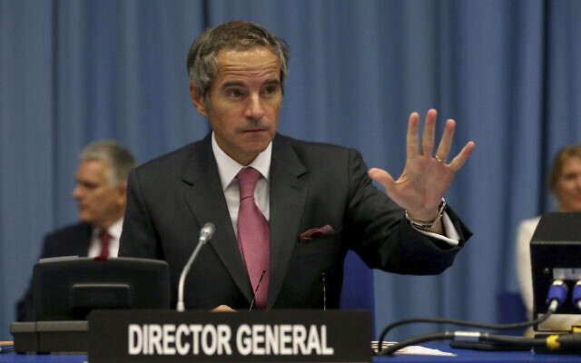 Director General of the International Atomic Energy Agency Rafael Mariano Grossi at the IAEA board of governors meeting at the International Center in Vienna, Austria, September 14, 2020. (Ronald Zak/AP)