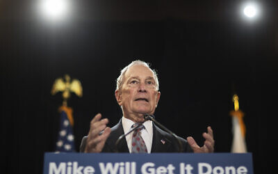 Then-Democratic presidential candidate and former New York City mayor Michael Bloomberg at a campaign event in Providence, Rhode Island, February 5, 2020. (David Goldman/AP)