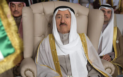In this March 31, 2019 file photo, Kuwait's ruling emir, Sheikh Sabah Al Ahmad Al Sabah, attends the opening of the 30th Arab Summit, in Tunis, Tunisia. (Fethi Belaid/Pool Photo via AP, File)