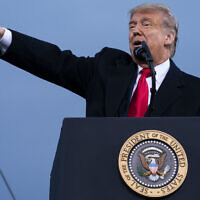 US President Donald Trump speaks during a campaign rally at Fayetteville Regional Airport, September 19, 2020, in Fayetteville, North Carolina. (AP Photo/Evan Vucci)