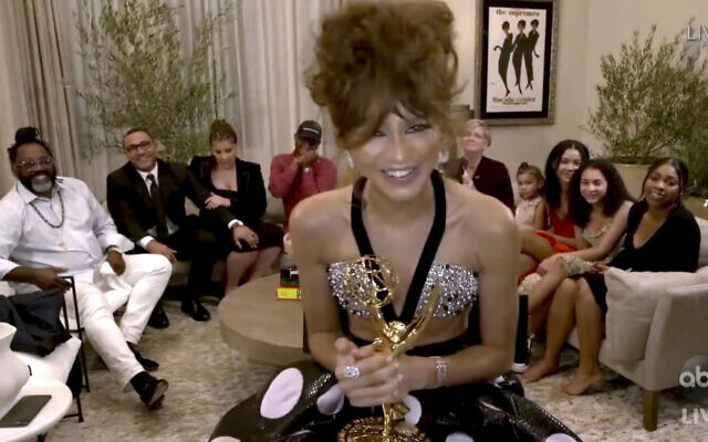 """In this video grab captured on Sept. 20, 2020, courtesy of the Academy of Television Arts & Sciences and ABC Entertainment, Zendaya accepts the award for outstanding lead actress in a drama series for """"Euphoria"""" during the 72nd Emmy Awards broadcast. (The Television Academy and ABC Entertainment via AP)"""