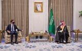 Saudi Crown Prince Mohammed bin Salman, right, meets with presidential adviser Jared Kushner in Riyadh, Saudi Arabia, September 1, 2020. (Saudi Press Agency via AP)
