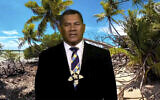 In this image made from UNTV video, Kausea Natano, Prime Minister of Tuvalu, speaks in a pre-recorded message which was played during the 75th session of the United Nations General Assembly, September 25, 2020, at UN headquarters.  (UNTV via AP)
