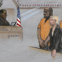In this June 19, 2015, file courtroom sketch, David Wright, second from left, is depicted standing before Magistrate Judge Donald Cabell, left, with attorney Jessica Hedges, second from right, and Nicholas Rovinski, right, during a hearing in federal court in Boston. (Jane Flavell Collins via AP, File)