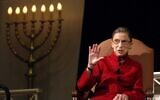 Justice Ruth Bader Ginsburg, the first Jewish woman to be appointed to the Supreme Court, talks with filmmaker David Grubin about his PBS series, 'The Jewish Americans,' on January 10, 2008 in Washington. (AP Photo/Kevin Wolf)