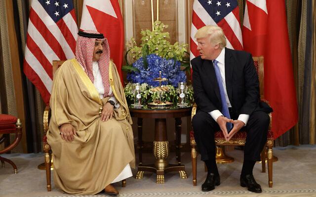 US President Donald Trump holds a bilateral meeting with Bahrain's King Hamad bin Isa Al Khalifa, Sunday, May 21, 2017, in Riyadh. (AP Photo/Evan Vucci)
