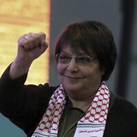 Leila Khaled at the congress of pro-Kurdish Peoples' Democratic Party, or HDP, in Ankara, Turkey, February 11, 2018 (AP Photo/Burhan Ozbilici)