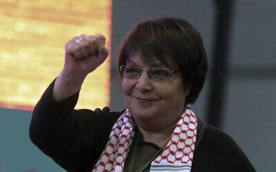 Leila Khaled at the congress of pro-Kurdish Peoples' Democratic Party, or HDP, in Ankara, Turkey, February 11, 2018 (AP Photo/Burhan Ozbilici)