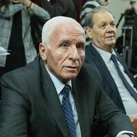 Fatah official Azzam Al-Ahmad, left, visits Moscow, Russia, Tuesday, Feb. 12, 2019. (AP Photo/Pavel Golovkin)
