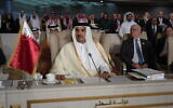 Qatar's Emir Sheikh Tamim bin Hamad Al Thani attends the oppening of the 30th Arab Summit in Tunis, Tunisia, March 31, 2019. (Fethi Belaid/ Pool photo via AP)