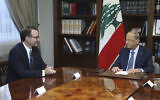 Lebanese President Michel Aoun, right, meets with David Schenker, US Assistant Secretary of State for Near Eastern Affairs, at the presidential palace in Baabda, east of Beirut, Lebanon, September 10, 2019. (Dalati Nohra via AP)