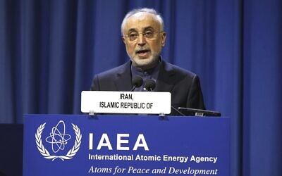 File: The head of Iran's Atomic Energy Organization Ali Akbar Salehi delivers his speech at opening of the general conference of the IAEA in Vienna, Austria, September 16, 2019. (AP Photo/Ronald Zak)