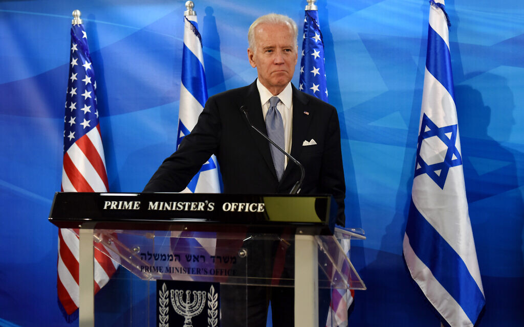 Joe Biden during a joint press conference with Benjamin Netanyahu, not seen, at the Prime Minister's Office in Jerusalem, March 9, 2016. (Debbie Hill, Pool via AP/File)