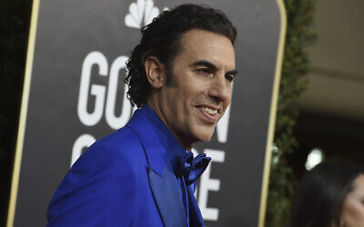 Sacha Baron Cohen arrives at the 77th annual Golden Globe Awards at the Beverly Hilton Hotel on Sunday, January 5, 2020, in Beverly Hills, California (Photo by Jordan Strauss/Invision/AP)