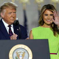 US President Donald Trump and first lady Melania Trump arrive on South Lawn of the White House on the fourth day of the Republican National Convention on August 27, 2020, in Washington. (AP/Evan Vucci)