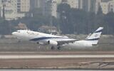 An El Al airliner carrying Israeli and US delegations to Abu Dhabi for talks takes off from Ben Gurion Airport, near Tel Aviv, August 31, 2020. (Ariel Schalit/AP)