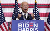 Democratic presidential candidate Joe Biden speaks at campaign event at Mill 19 in Pittsburgh, Pennsylvania, August 31, 2020. (AP Photo/Carolyn Kaster)
