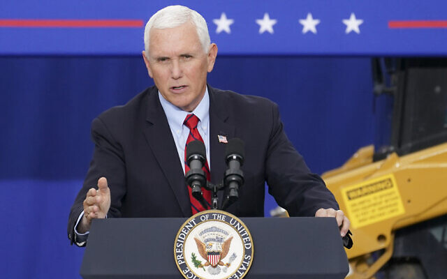 US Vice President Mike Pence speaks at a campaign event on the grounds of Kuharchik Construction, Inc., September 1, 2020, in Exeter, Pennsylvania. (AP Photo/John Minchillo)