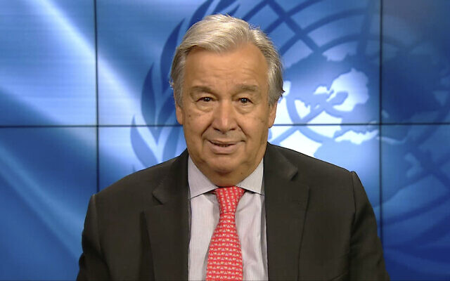 UN Secretary General Antonio Guterres speaks at an online video conference on September 3, 2020 (Ministry of Environment Government of Japan via AP)