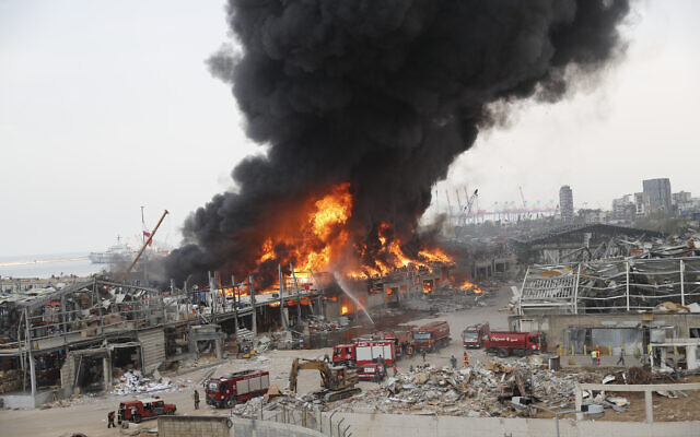 Fire burns in the port in Beirut, Lebanon, Sept. 10. 2020. (AP Photo/Hussein Malla)