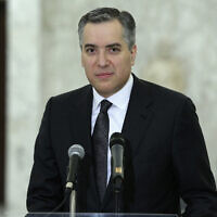 Prime Minister-Designate Mustapha Adib speaks with journalists in Baabda, Lebanon, September 14, 2020 (Dalati Nohra via AP)