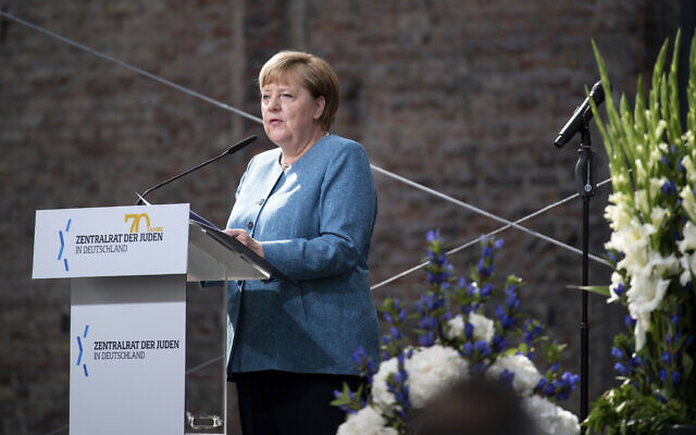 Chancellor Angela Merkel at the ceremony to mark the 70th anniversary of the Central Council of Jews in the courtyard of the New Synagogue in Berlin, Germany, September 15, 2020. (Bernd von Jutrczenka/Pool via AP)
