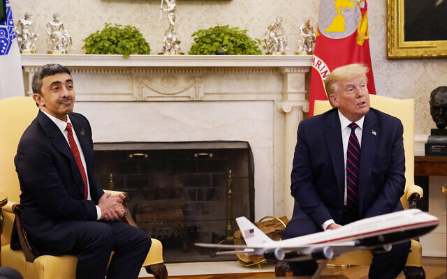 President Donald Trump meets with United Arab Emirates Foreign Minister Abdullah bin Zayed al-Nahyan in the Oval Office, Tuesday, Sept. 15, 2020, at the White House in Washington. (AP/Alex Brandon)