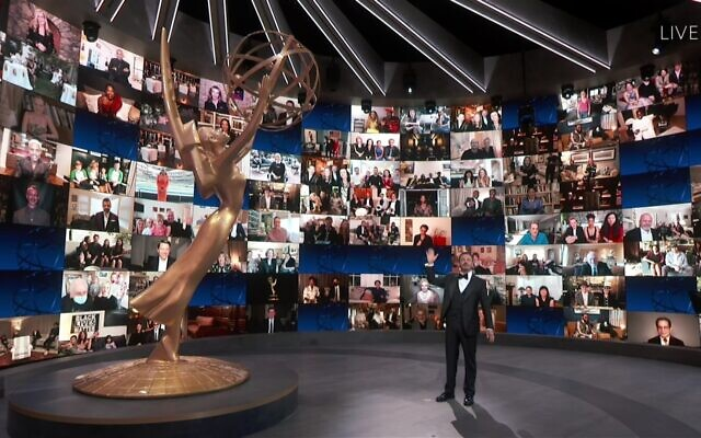 Host Jimmy Kimmel speaks on stage during the 72nd Emmy Awards telecast on Sunday, Sept. 20, 2020 at 8:00 PM EDT/5:00 PM PDT on ABC. (Invision for the Television Academy/AP)