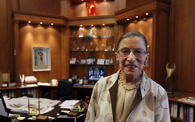 Supreme Court Justice Ruth Bader Ginsburg is photographed in her chambers in Washington on August 3, 2010. (AP Photo/Alex Brandon, File)