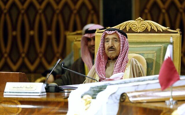 Kuwait's Emir Sheikh Sabah Al Ahmad Al Sabah attends the 40th Gulf Cooperation Council Summit in Riyadh, Saudi Arabia, December 10, 2019. (Amr Nabil/AP)